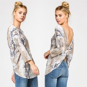 Tops - Snake Print Twisted Back Top